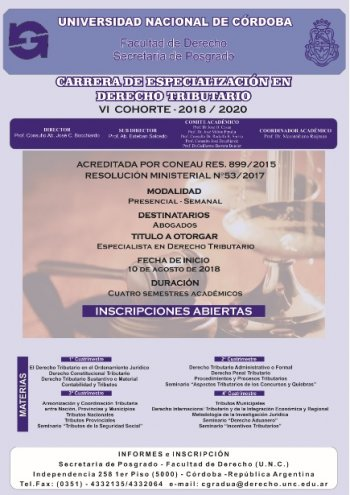 Carrera de Especialización de Derecho Tributario 2018